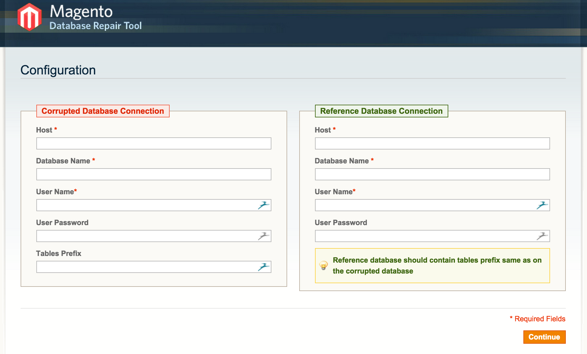 Magento Database Repair Tool