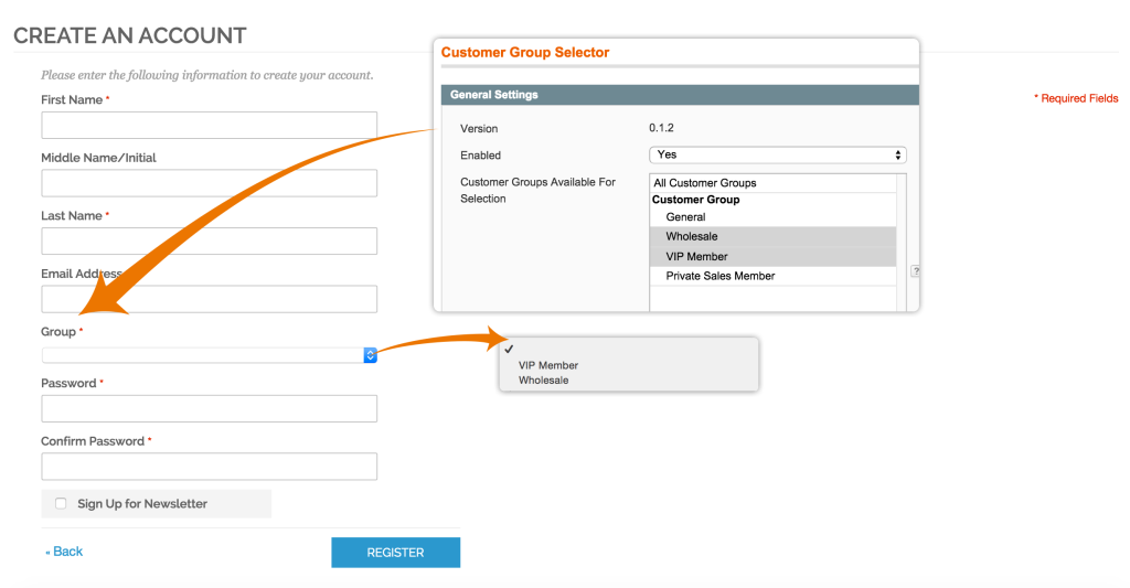 Customer Group Selector - Registration Page