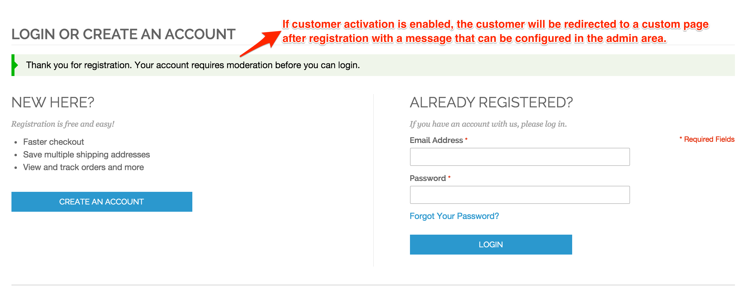Customer/account/login - Account Activation Required Message After Registration