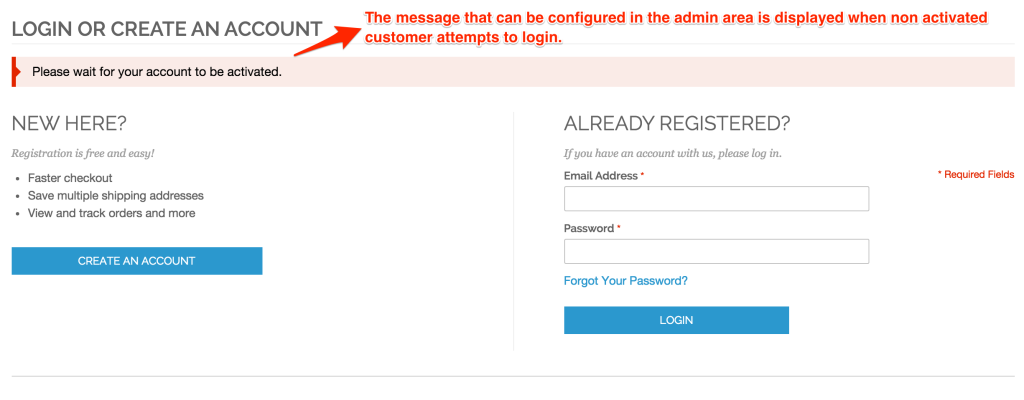 Account Activation Required Message after Login Attempt