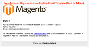 New Account Registration Notification Email Template (Sent to Admin)
