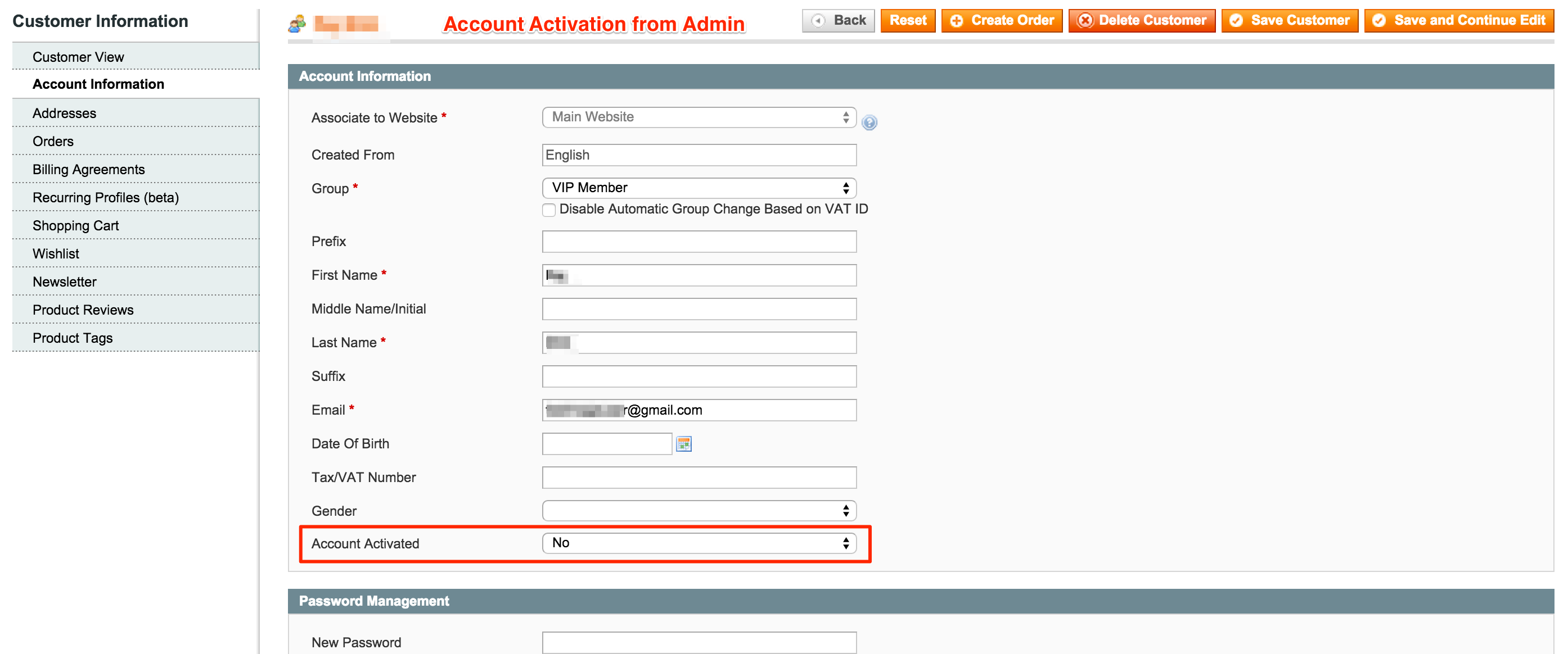 Customer account create/ - Account Activation Approval By Admin Customer Edit Page