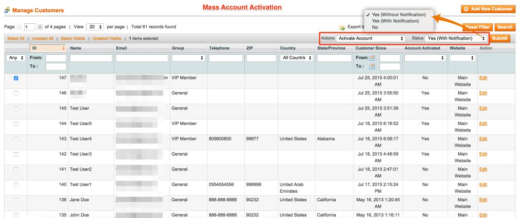 Mass Account Activation