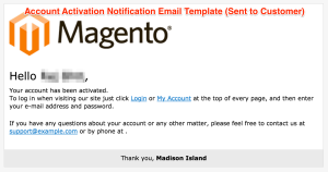 Account Activation Notification Email Template (Sent to Customer)