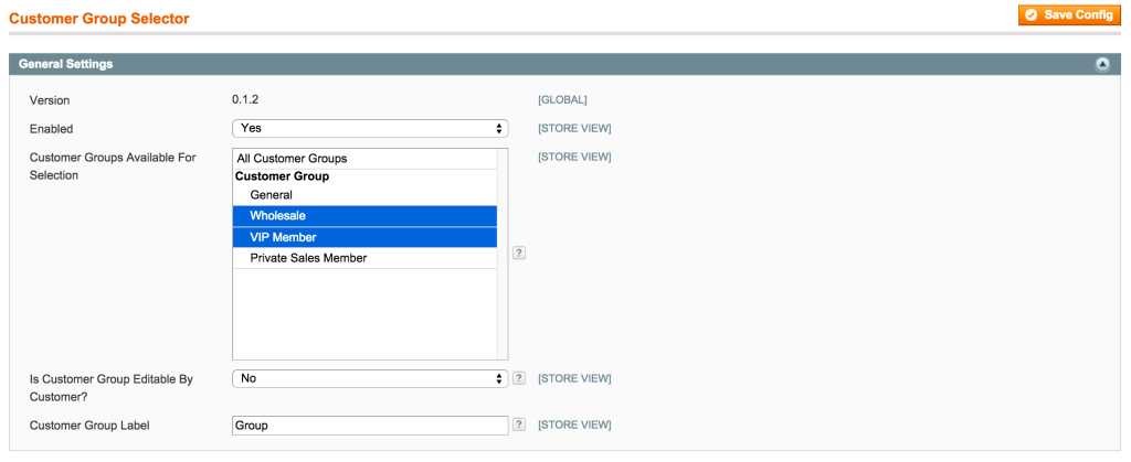 Customer Group Selector Settings