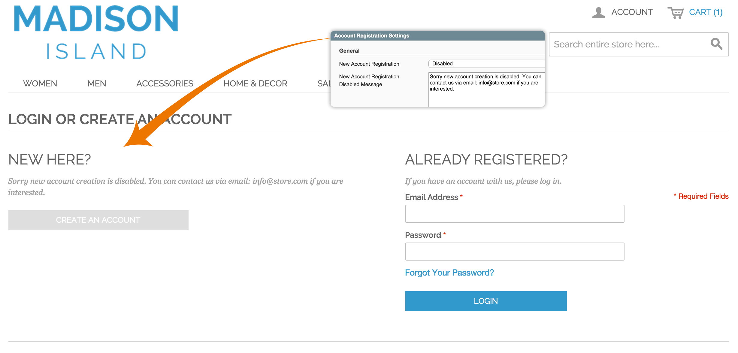 Customer account create/ - Account Registration 2 1 Disable Customer Registration