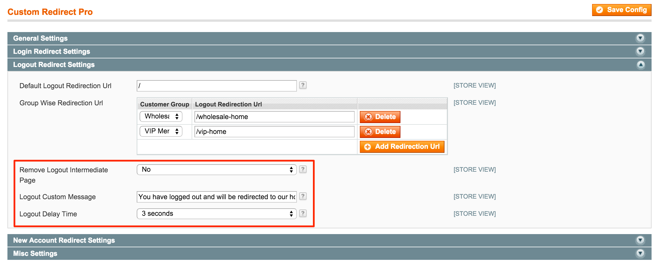 Customer Logout Redirect Settings
